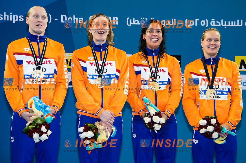 Netherlands Gold Medal WR<br /> Women's 4x200m Freestyle Final<br /> Doha Qatar 03-12-2014 Hamad Aquatic Centre, 12th FINA World Swimming Championships (25m). Nuoto Campionati mondiali di nuoto in vasca corta.<br /> Photo Giorgio Scala/Deepbluemedia/Insidefoto