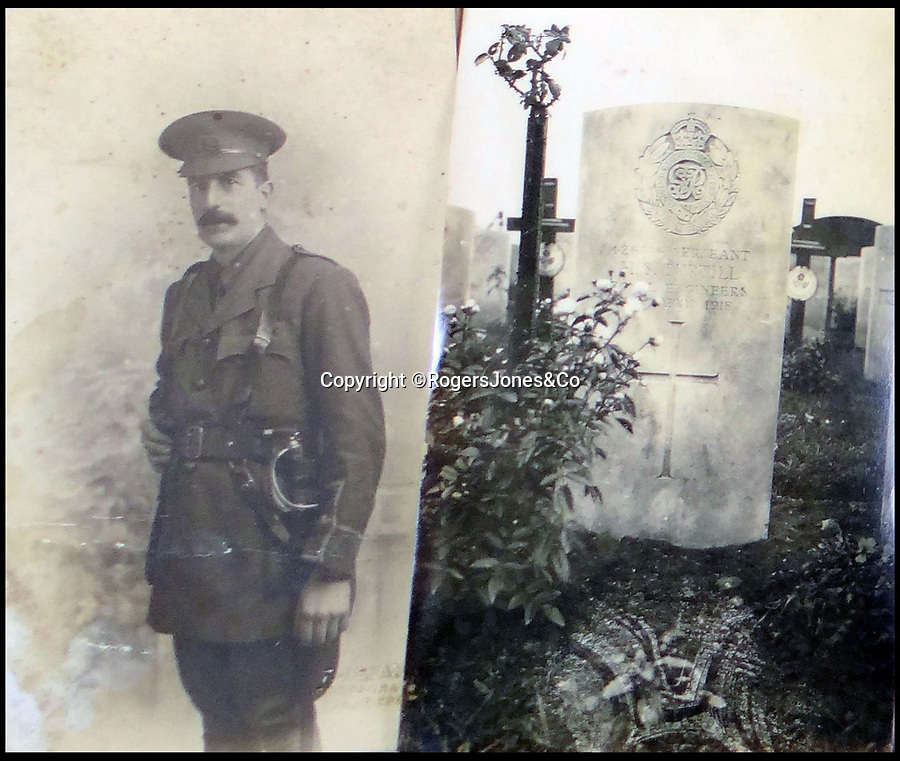 BNPS.co.uk (01202 558833)<br /> Pic: RogersJones&Co/BNPS<br /> <br /> Jum the tragic WW1 hero and his grave stone.<br /> <br /> Poignant heirlooms of British born All Black legend killed in the trenches of the Western Front during WW1.<br /> <br /> The rugby jersey of a legendary international player who was killed in battle has emerged for sale for £40,000.<br /> <br /> Jum Turtill was born in England but emigrated to New Zealand as a child and represented the All Blacks in 1905.<br /> <br /> He then returned to Britain to play rugby league for St Helens before enlisting at the outset of World War One.<br /> <br /> Turtill fought in many of the great offensives on the Western Front and eventually lost his life aged 38 at the Battle of Givenchy in April 1918.