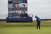 6th October 2017, Carnoustie Golf Links, Carnoustie, Scotland; Alfred Dunhill Links Championship, second round; England's Tyrrell Hatton, winner in 2016, holes a birdie putt on the 18th hole to be clubhouse leader during the second round at the Alfred Dunhill Links Championship on the Championship Links, Carnoustie