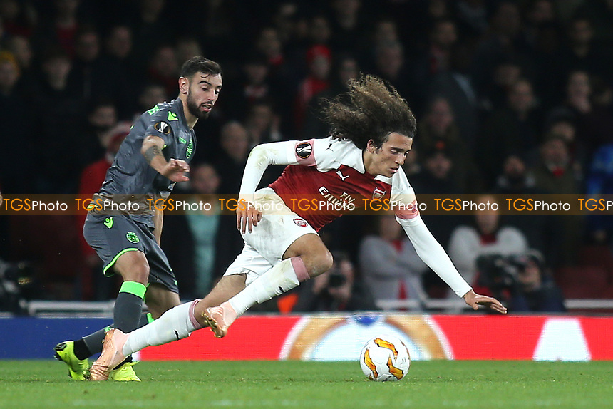 Matteo Guendouzi of Arsenal tries to retain possession of the ball in spite of losing his footing during Arsenal vs Sporting Lisbon, UEFA Europa League Football at the Emirates Stadium on 8th November 2018