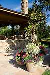 large pots filled with a small magnolia tree and colorful summer flowers sit on a cut stone patio in front of a covered patio entertaining area complete with comfortable outdoor lounging chairs and an outdoor fireplace in soft focus behind