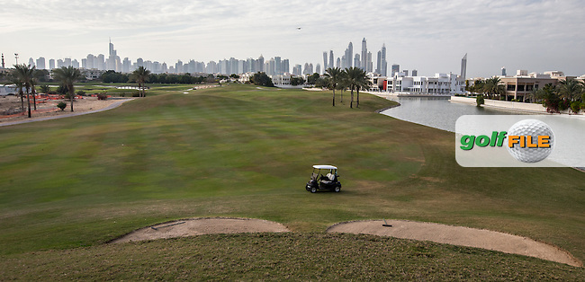 Large bunker left side of the 14th  at The Address Montgomerie Golf Club, Dubai, United Arab Emirates.  27/01/2016. Picture: Golffile | David Lloyd<br /> <br /> All photos usage must carry mandatory copyright credit (&copy; Golffile | David Lloyd)