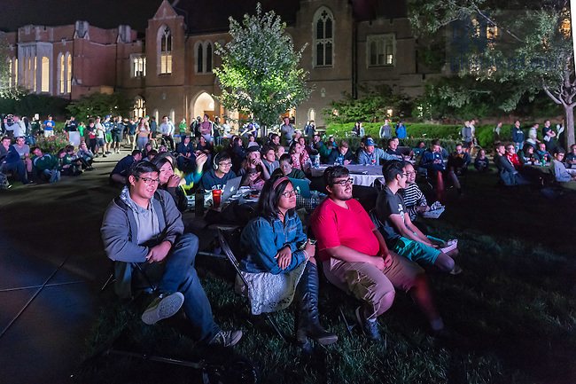 September 26, 2016; Students gather on South Quad to watch the presidential debate. (Photo by Matt Cashore/University of Notre Dame)