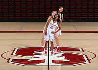 STANFORD, CA - September, 20, 2016: The 2016-2017 Stanford Women's Basketball Team. Briana Roberson (10), Karlie Samuelson (44), Erica McCall (24).