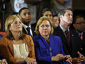 United States Senator Mary Landrieu (Democrat of Louisiana), center, becomes emotional during a speech by United States President Barack Obama on the fifth anniversary of Hurricane Katrina, Sunday, August 29, 2010, at Xavier University in New Orleans, Louisiana. Also listening are U.S. Senator David Vitter (Republican of Louisiana), right, and Landrieu's sister-in-law, Cheryl Landrieu, the wife of New Orleans mayor Mitch Landrieu. .Credit: A.J. Sisco - Pool via CNP
