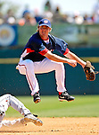 18 March 2007: Washington Nationals infielder Josh Wilson pulls off a double play against the Florida Marlins at Space Coast Stadium in Viera, Florida...Mandatory Photo Credit: Ed Wolfstein Photo