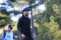 NFL Arizona Cardinals wide receiver Larry Fitzgerald tees off the 1st tee at Spyglass Hill during Thursday's Round 1 of the 2018 AT&amp;T Pebble Beach Pro-Am, held over 3 courses Pebble Beach, Spyglass Hill and Monterey, California, USA. 8th February 2018.<br /> Picture: Eoin Clarke | Golffile<br /> <br /> <br /> All photos usage must carry mandatory copyright credit (&copy; Golffile | Eoin Clarke)