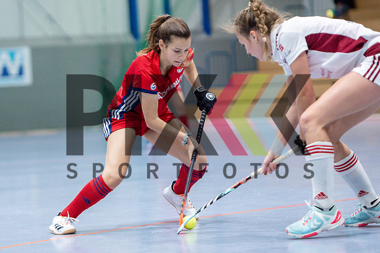 Mannheim, Germany, December 01: During the Bundesliga indoor women hockey match between Mannheimer HC and Nuernberger HTC on December 1, 2019 at Irma-Roechling-Halle in Mannheim, Germany. Final score 7-1. Clara Badia Bogner #9 of Mannheimer HC<br /> <br /> Foto © PIX-Sportfotos *** Foto ist honorarpflichtig! *** Auf Anfrage in hoeherer Qualitaet/Aufloesung. Belegexemplar erbeten. Veroeffentlichung ausschliesslich fuer journalistisch-publizistische Zwecke. For editorial use only.