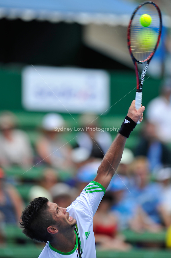 MELBOURNE, 12 JANUARY - Fernando Verdasco (ESP) hits a serve in a match against Gael Monfils (FRA) on day one of the 2011 AAMI Classic at Kooyong Tennis Club in Melbourne, Australia. (Photo Sydney Low / syd-low.com)