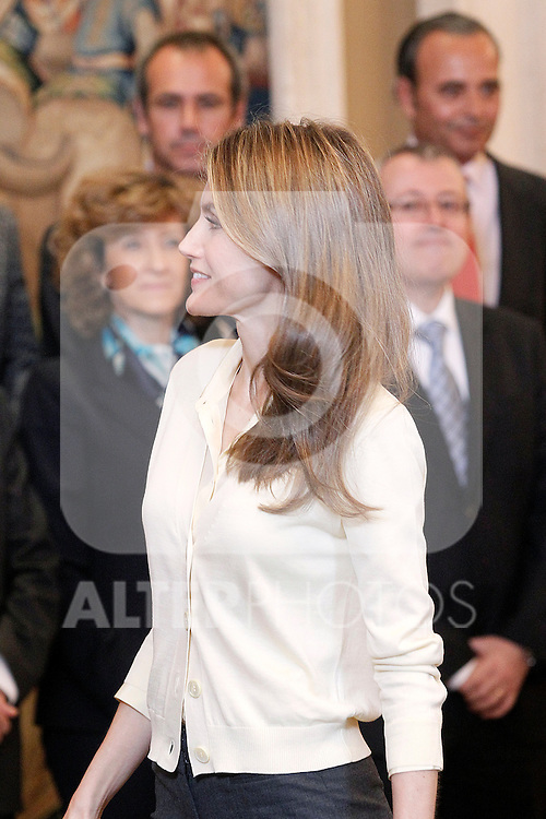 Princess Letizia of Spain attends in audience a representation of the University-Business Foundation of the University of Valencia-ADEIT..May 22 ,2012. (ALTERPHOTOS/Acero)