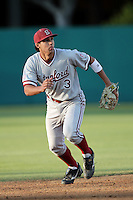 Kenny Diekroeger of the Stanford Cardinal in the field against the USC Trojans at Dedeaux Field in Los Angeles,California on April 8, 2011. Photo by Larry Goren/Four Seam Images