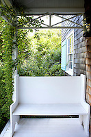 outdoor white bench