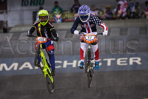 10.04.2016. National Cycling Centre, Manchester, England. UCI BMX Supercross World Cup Finals. Estefany Gomez Echeverry and Alise Post.