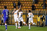 ATENÇÃO EDITOR: FOTO EMBARGADA PARA VEÍCULOS INTERNACIONAIS SÃO PAULO,SP,26 SETEMBRO 2012 - FINAL RECOPA SUDAMERICANA - SANTOS (bra) x UNIVERSIDAD DE CHILE (chi) - Bruno Rodrigo  jogador do Santos comemora gol durante partida Santos x Universidad de Chile  válido pela final da Recopa Sudameircana no Estádio Paulo Machado de Carvalho (Pacaembu), na região oeste da capital paulista na noite desta quarta feira (26).(FOTO: ALE VIANNA -BRAZIL PHOTO PRESS).