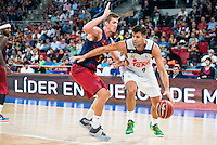 Real Madrid's player Felipe Reyes and FC Barcelona Lassa's player Justin Doellman during the match of the semifinals of Supercopa of La Liga Endesa Madrid. September 23, Spain. 2016. (ALTERPHOTOS/BorjaB.Hojas)