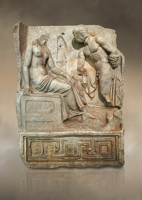 "Roman Sebasteion relief  sculpture of Io and Argos Aphrodisias Museum, Aphrodisias, Turkey. Against an art background.<br /> <br /> A powerful hero is folding a sword gazing closely at a half naked and dishevelled young heroine who sits on a chest like stool. Between, on a pillar base stood a small, separately added statue of a goddess ( now missing). The scene follows a scheme used in the relief panels ""Io guarded by Argos"". Io was one of Zeus's lovers, and Argos was a watchful giant sent to guard her by Hera, Zeus's wife."