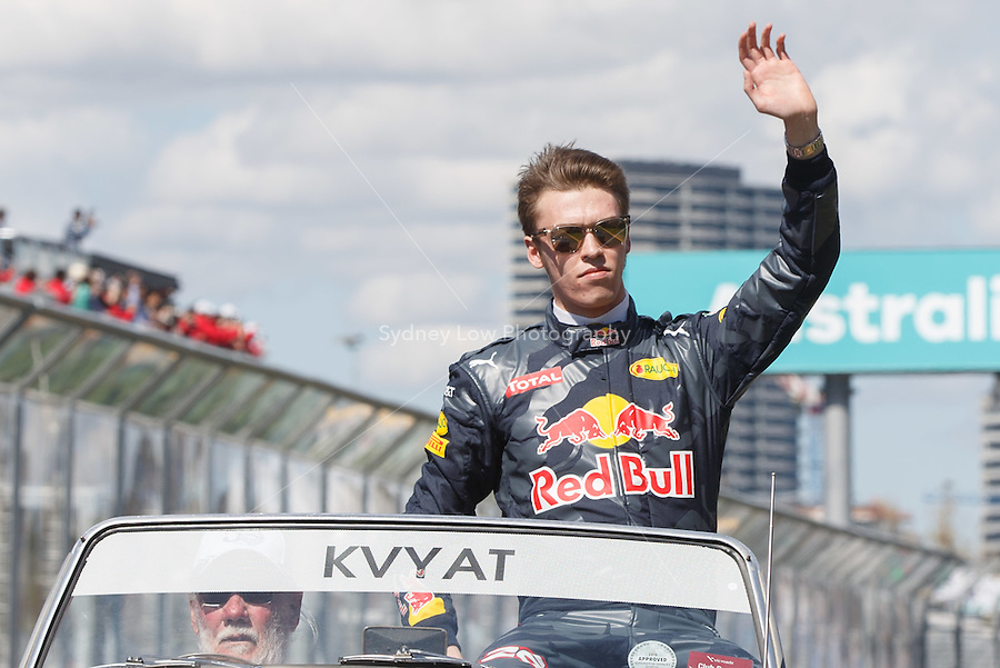 March 20, 2016: Daniil Kvyat (RUS) #26 from the Red Bull Racing team at the drivers' parade prior to the 2016 Australian Formula One Grand Prix at Albert Park, Melbourne, Australia. Photo Sydney Low