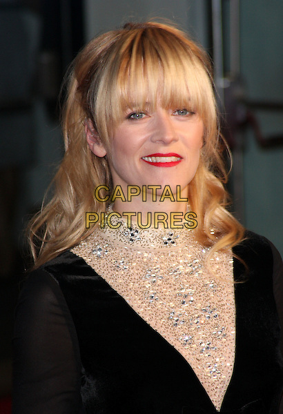 Edith Bowman.'360' opening gala premiere, 55th BFI London Film Festival, Odeon cinema, Leicester Square, London, England..October 12th 2011.headshot portrait black beige beads beaded embellished jewel encrusted red lipstick fringe bangs.CAP/ROS.©Steve Ross/Capital Pictures