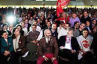 """Milano: Oscar Giannino durante l'Antimeeting"""" evento organizzato da """"Fare per Fermare il Declino"""", il movimento politico fondato da Oscar Giannino ed economisti."""