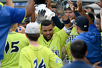 Second baseman Walter Rasquin (22) of the Columbia Fireflies is swarmed in the dugout after hitting his first home run of the season against the Augusta GreenJackets on Thursday, July 11, 2019 at Segra Park in Columbia, South Carolina. Columbia won, 5-2. (Tom Priddy/Four Seam Images)