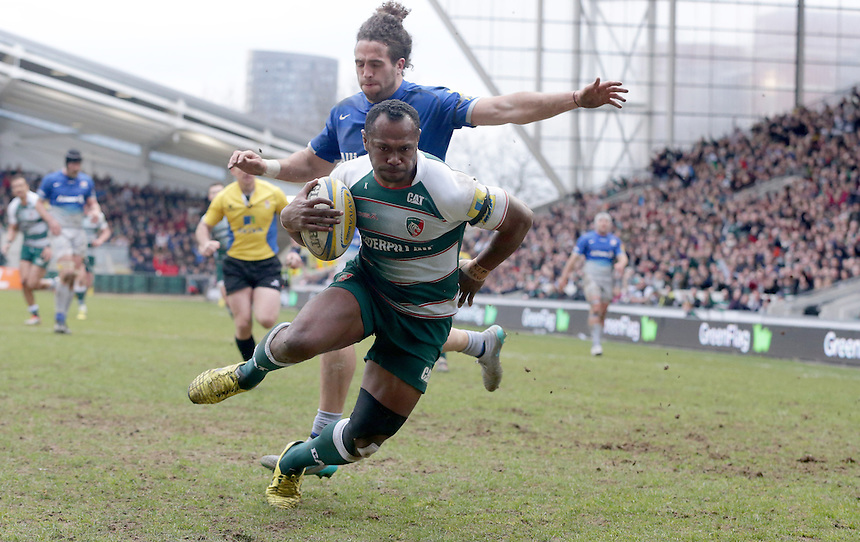 Leicester Tigers' Vereniki Goneva scores his sides second try <br /> <br /> Photographer Stephen White/CameraSport<br /> <br /> Rugby Union - Aviva Premiership Round 17 - Leicester Tigers v Saracens - Sunday 20th March 2016 - Welford Road - Leicester <br /> <br /> &copy; CameraSport - 43 Linden Ave. Countesthorpe. Leicester. England. LE8 5PG - Tel: +44 (0) 116 277 4147 - admin@camerasport.com - www.camerasport.com