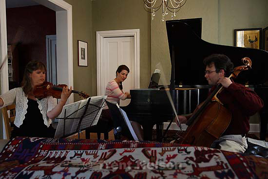 Salt Lake City - Rehearsing Dvorak's PIano Trio No. 4 for this summer's Intermezzo Chamber Series are (left to right) violinist Dara Morales, pianist Vedrana Subotic, and cellist Jesus Morales. The titles of the concerts (Morales vs. Morales; Schubertmania; Rumble in Bohemia; The Maine Event) are plays on words inspired by the world of boxing -- because Jesus Morales, cellist for the first concert, is crazy about boxing.