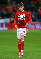 David Brooks of Wales warms up during the FIFA World Cup Qualifier Group D match between Wales and Republic of Ireland at The Cardiff City Stadium, Wales, UK. Monday 09 October 2017