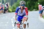 Rudy Molard (FRA) Groupama-FDJ from the breakaway group during Stage 10 of the 2018 Tour de France running 158.5km from Annecy to Le Grand-Bornand, France. 17th July 2018. <br /> Picture: ASO/Alex Broadway | Cyclefile<br /> All photos usage must carry mandatory copyright credit (&copy; Cyclefile | ASO/Alex Broadway)