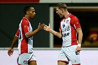 EMMEN - Voetbal, FC Emmen - Jong PSV, Jens Vesting, Jupiler League, seizoen 2017-2018, 13-10-2017,  FC Emmen speler Cas Peters viert de 2-1 met FC Emmen speler Michael Chacon