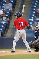 Fort Myers Miracle designated hitter Joe Cronin (17) at bat in front of catcher Francisco Diaz (17) during a game against the Tampa Tarpons on May 2, 2018 at George M. Steinbrenner Field in Tampa, Florida.  Fort Myers defeated Tampa 5-0.  (Mike Janes/Four Seam Images)