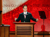 """Chairman of the Republican National Committee Reince Priebus convenes the opening session of the 2012 Republican National Convention in Tampa Bay, Florida on Monday, August 27, 2012.  Due to the effects of Hurricane Isaac, it was immediately recessed """"subject to the call of the chair""""..Credit: Ron Sachs / CNP.(RESTRICTION: NO New York or New Jersey Newspapers or newspapers within a 75 mile radius of New York City)"""