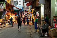 A market street in early evening, Hong Kong