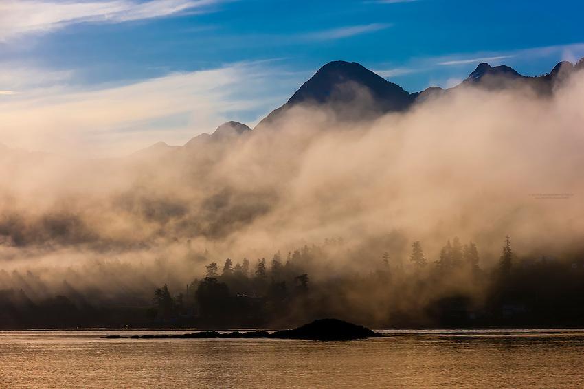 Fog and low hanging clouds, Sitka Sound,  Inside Passage, near Sitka, Alaska USA.
