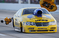 Apr. 26, 2013; Baytown, TX, USA: NHRA pro stock driver Jeg Coughlin during qualifying for the Spring Nationals at Royal Purple Raceway. Mandatory Credit: Mark J. Rebilas-