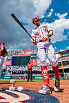 20 May 2018: Washington Nationals outfielder Bryce Harper steps to the on-deck circle during a game against the Los Angeles Dodgers at Nationals Park in Washington, DC. The Dodgers defeated the Nationals 7-2, sweeping their 3-game series. Mandatory Credit: Ed Wolfstein Photo *** RAW (NEF) Image File Available ***