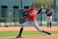 Pitcher Yean Carlos Gil (40) of the Atlanta Braves farm system in a Minor League Spring Training intrasquad game on Wednesday, March 18, 2015, at the ESPN Wide World of Sports Complex in Lake Buena Vista, Florida. (Tom Priddy/Four Seam Images)