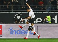 celebrate the goal, Torjubel zum 1:0 von Kevin-Prince Boateng (Eintracht Frankfurt) mit Simon Falette (Eintracht Frankfurt)- 26.01.2018: Eintracht Frankfurt vs. Borussia Moenchengladbach, Commerzbank Arena