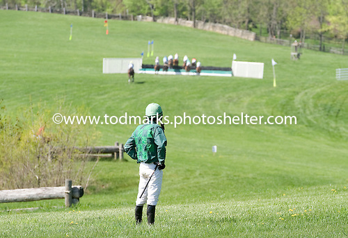Willy Dowling looks at the field in the distance after getting unseated by Lenape Jim in the Foxhunter's Bowl at Middleburg Spring 2010.