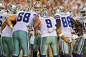 Dallas Cowboys offense huddles late in the fourth quarter against the Washington Redskins at FedEx Field in Landover, Maryland on Sunday, September 12, 2010. The Redskins won the game 13 - 7..Credit: Ron Sachs / CNP