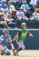 Aaron Payne #20 of the Oregon Ducks bats against the UCLA Bruins at Jackie Robinson Stadium on May 18, 2014 in Los Angeles, California. Oregon defeated UCLA, 5-4. (Larry Goren/Four Seam Images)