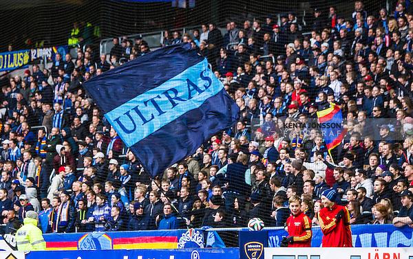 Stockholm 2014-04-06 Fotboll Allsvenskan Djurg&aring;rdens IF - Halmstads BK :  <br /> Djurg&aring;rdens supportrar med en flagga med texten Ultras<br /> (Foto: Kenta J&ouml;nsson) Nyckelord:  Djurg&aring;rden DIF Tele2 Arena Halmstad HBK supporter fans publik supporters