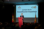 King Felipe VI of Spain attends to the Reading of the Spanish Constitution for the 40th anniversary of its approval by the Congress at Instituto Cervantes in Madrid, Spain. October 31, 2018. (ALTERPHOTOS/A. Perez Meca)