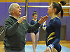 Massapequa coach Mike Capone chats with Emily Corso during a Nassau County varsity gymnastics meet against Plainview JFK at McKenna Elementary School on Monday, Feb. 1, 2016.