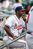 Mississippi Braves manager Aaron Holbert (13) during a game against the Montgomery Biscuits on April 22, 2014 at Riverwalk Stadium in Montgomery, Alabama.  Mississippi defeated Montgomery 6-2.  (Mike Janes/Four Seam Images)