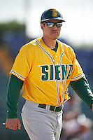 Siena Saints coach David Yamane (29) during a game against the Pittsburgh Panthers on February 24, 2017 at Historic Dodgertown in Vero Beach, Florida.  Pittsburgh defeated Siena 8-2.  (Mike Janes/Four Seam Images)