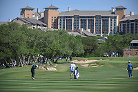Xinjun Zhang (CHN) hits his approach show on 15 during Round 1 of the Valero Texas Open, AT&amp;T Oaks Course, TPC San Antonio, San Antonio, Texas, USA. 4/19/2018.<br /> Picture: Golffile | Ken Murray<br /> <br /> <br /> All photo usage must carry mandatory copyright credit (&copy; Golffile | Ken Murray)