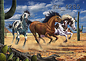 Interlitho, Lorenzo, REALISTIC ANIMALS, paintings, 3 mustangs(KL4285,#A#) realistische Tiere, realista, illustrations, pinturas ,puzzles
