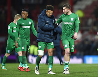 Preston's Callum Robinson and Tom Barkhuizen<br /> <br /> Photographer Jonathan Hobley/CameraSport<br /> <br /> The EFL Sky Bet Championship - Brentford v Preston North End - Saturday 10th February 2018 - Griffin Park - Brentford<br /> <br /> World Copyright &copy; 2018 CameraSport. All rights reserved. 43 Linden Ave. Countesthorpe. Leicester. England. LE8 5PG - Tel: +44 (0) 116 277 4147 - admin@camerasport.com - www.camerasport.com