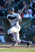 Scranton Wilkes-Barre Yankees outfielder Justin Maxwell #44 at bat during a game against the Rochester Red Wings at Frontier Field on April 9, 2011 in Rochester, New York.  Rochester defeated Scranton 7-6 in twelve innings.  Photo By Mike Janes/Four Seam Images