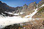 Mountains surrounding Iceberg lake in  Glacier National Park